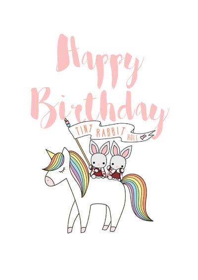 Tiny Rabbit Hole - White Happy Birthday Rainbow Unicorn Card