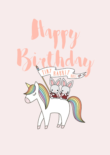 Tiny Rabbit Hole - Pink Happy Birthday Rainbow Unicorn Card