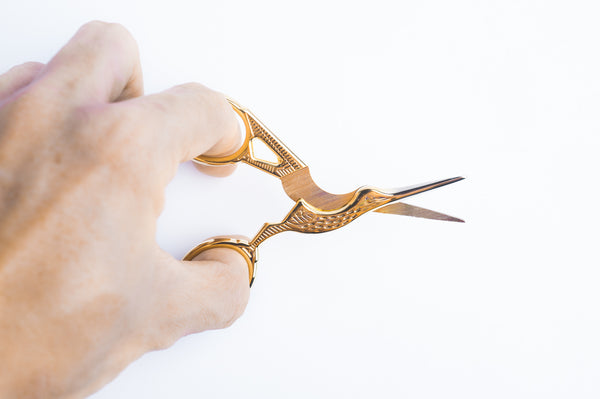 tiny rabbit hole - Italy euro designed golden crane small craft handmade scissor with sharp shear