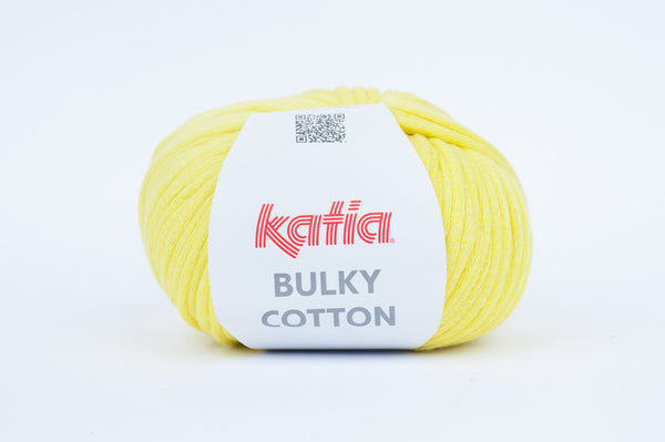 tiny rabbit hole - katia bulky cotton yarn lemon yellow cotton polyamide from spain