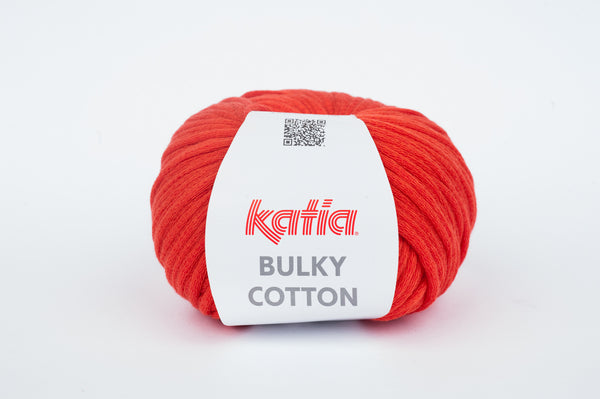 tiny rabbit hole - katia bulky cotton yarn Vermillion Red cotton polyamide from spain