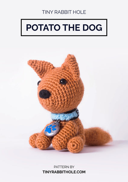 tiny rabbit hole - crochet knit potato the brown dog with collar and tag amigurumi doll plush pattern tutorial