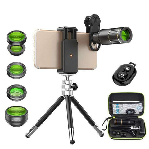 Shoot Pro HD Photos With Your Smartphone - 5 in 1 Boxed Lens Kit With Tripod