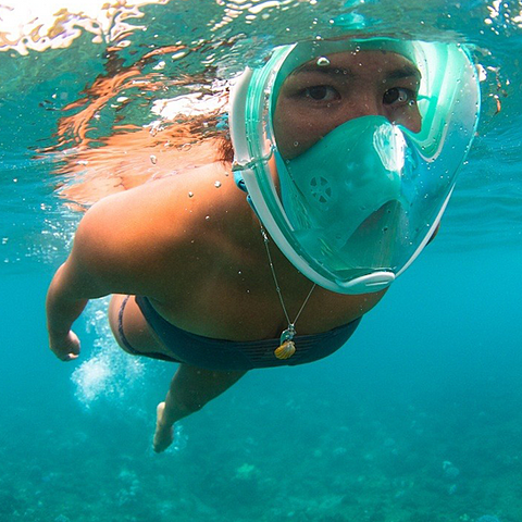 Full Face Snorkel Mask w/Optional HD Sports Camera - Swim, Snorkel and Skin Dive -- And Record Every Minute!