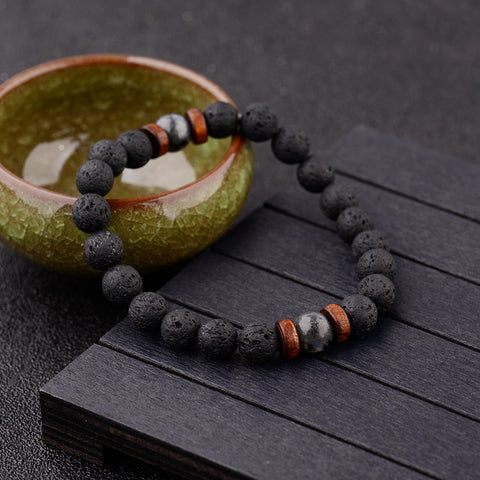 Amader Vintage Black Lava Stone Bracelets Men Meditation Natural Wood Beads Bracelet Women Prayer Jewelry Yoga Dropshipping - The Gadget Junkie