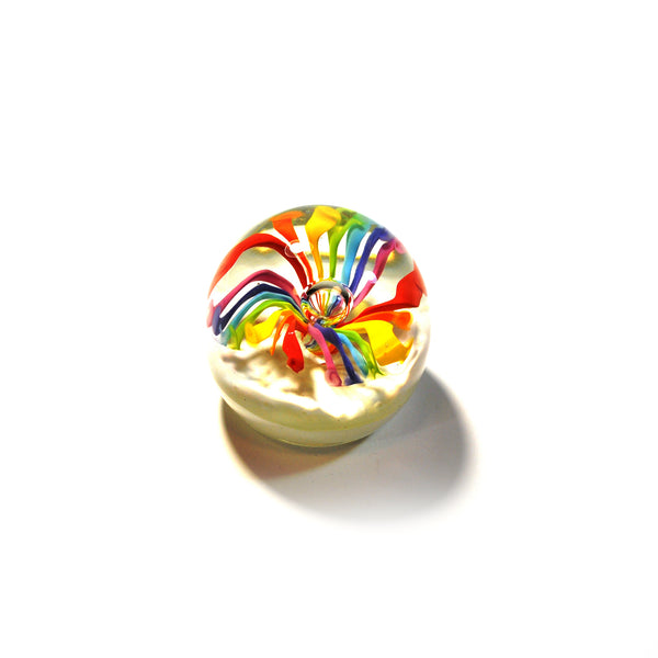 Rainbow Floral Paperweight by NZ Glassworks