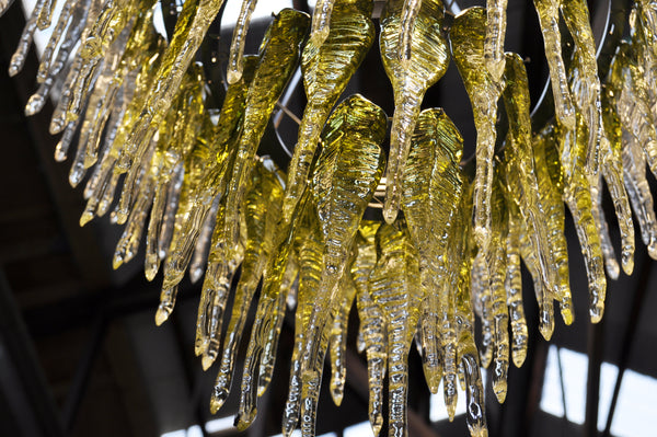 Kakariki Chandelier by Crystal Chain Gang