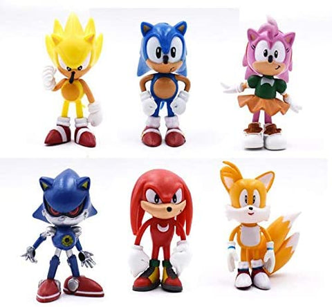 ALB Toys Set of 6pcs Inspired by Sonic The Hedgehog Action Figures, Cake Toppers, 2.4-3""