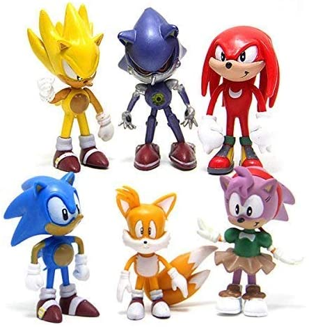 HYSTYLE 6 Pcs Sonic The Hedgehog Action Figures, Cake Toppers, 2.4""