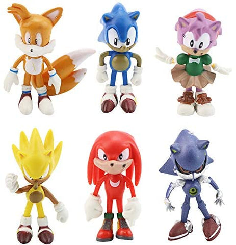 "Jubasix 6 PCS Sonic Hedgehog Action Figures – The Sonic Action Figures Cake Toppers 1.5-2.5"" Tall Mini Figure Toys for Kids - Cupcake Cake Toppers Party Favor Decoration Toys Birthday Gift Set"