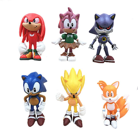 Sonic the hedgehog cake toppers figures Characters set of 6 Action Figure cake decoration cupcake topper