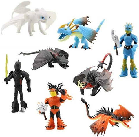 Mikasil Pantysha 8pcs How to Train Your Dragon Characters – Dragon Train-Themed Cake Toppers – 8-Piece Action Figure Set for Kids and Adults – 3.5-8.5 cm Toy Doll Collection