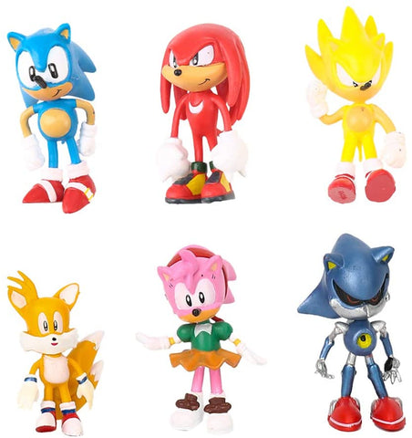"6 Sonic Hedgehog Figures 1.5-2.5"" Tall Mini Figure Toys for Kids Collection Playset, Cake Topper, Plant, Automobile Decoration"