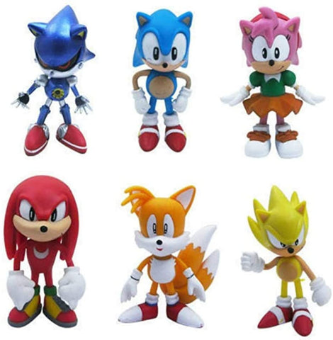 SUPFANS 6 PCS Sonic The Hedgehog Action Figures Cake Toppers Cute Toys Birthday Gift Set