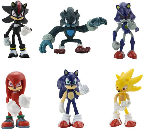 Gumair Set of 6pcs Sonic The Hedgehog Action Figures 2-2.75in Cake Toppers Children's toys Includes Sonic, Shadow, Werehog, Metal Sonic, Knuckles & Super Sonic
