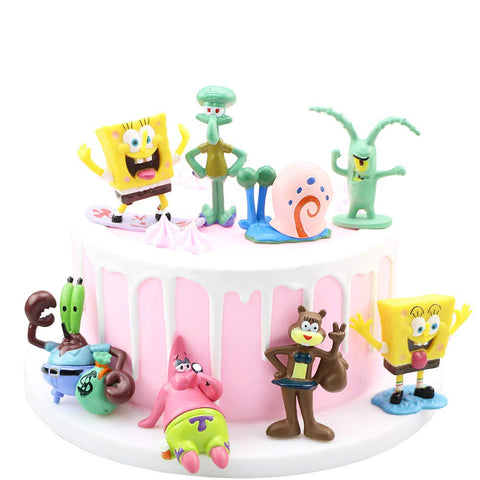 8Pcs Spongebob cake topper Spongebob Action Figures Toys for the Spongebob party supplies
