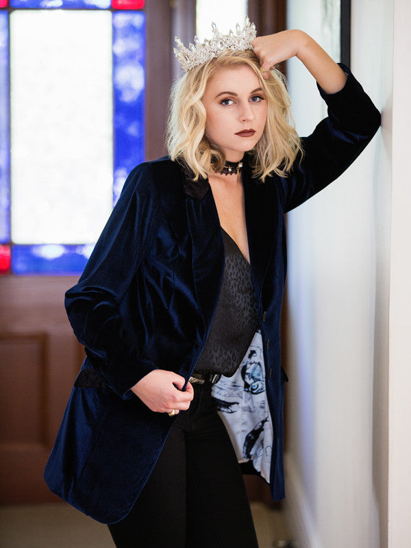 Oliver Jacket | Royal Blue Velvet Blazer | Lushington Jackets