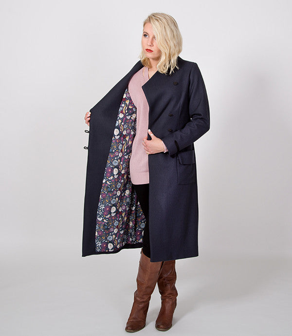 Floral Lining, Steel Grey Womens Coat | Lushington Jackets | Stanton jacket