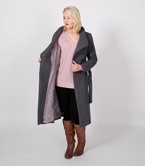 Long Winter Womens Coat | Red Lining on the inside, just like Mr Greys Red Room | Lushington Jackets