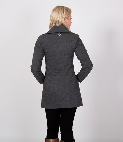 Back detail, Grey and Black Houndstooth Womens Jacket | Lushington Jackets | Arthur Jacket