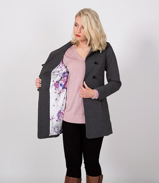Grey and Black Hounds tooth Womens Jacket, Floral Lining | Lushington Jacket | Arthur Jacket