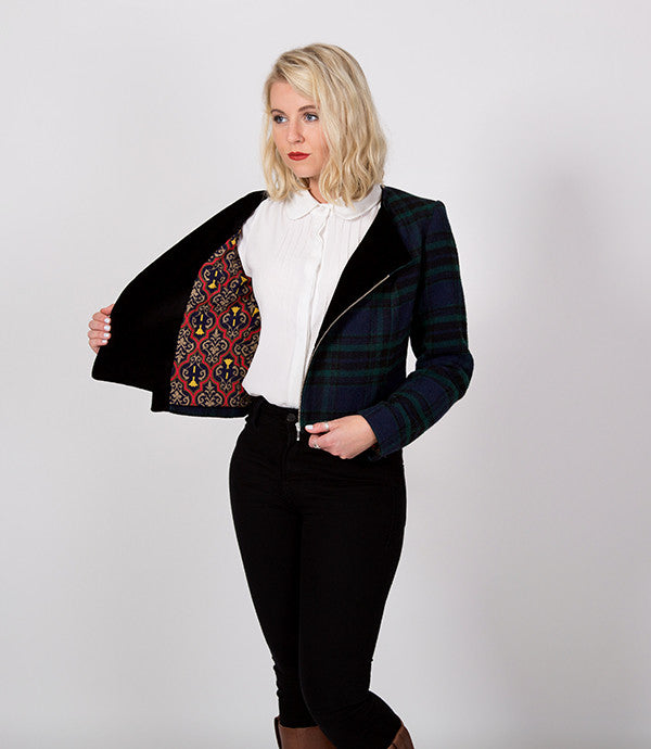 Green Plaid Cropped Winter jacket | Must be something, it's named after a Prince! | Lushington Jackets