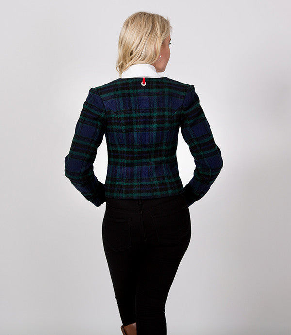 Back detail, Green plaid Short winter Jacket | Lushington jackets | Harry Jacket