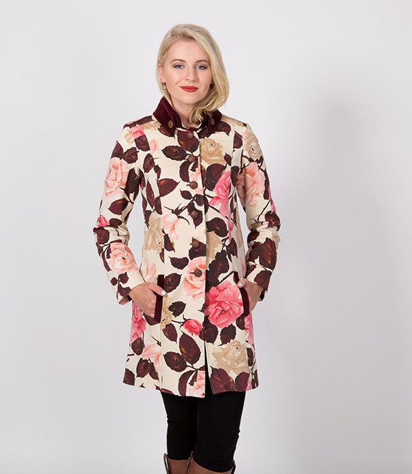 Ruby Floral womens winter Jacket | A beautiful bunch of roses | Lushington Jackets | Leopold Jacket