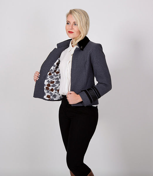 Short grey and black womens winter jacket, Floral lining | Lushington Jackets