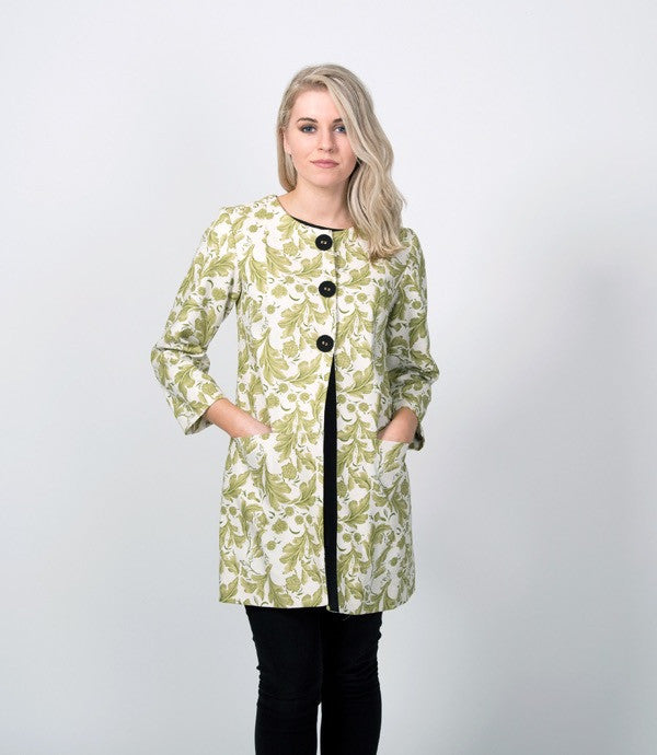 Mid Length Summer Womens Jacket in Olive Floral - Lushington Jackets
