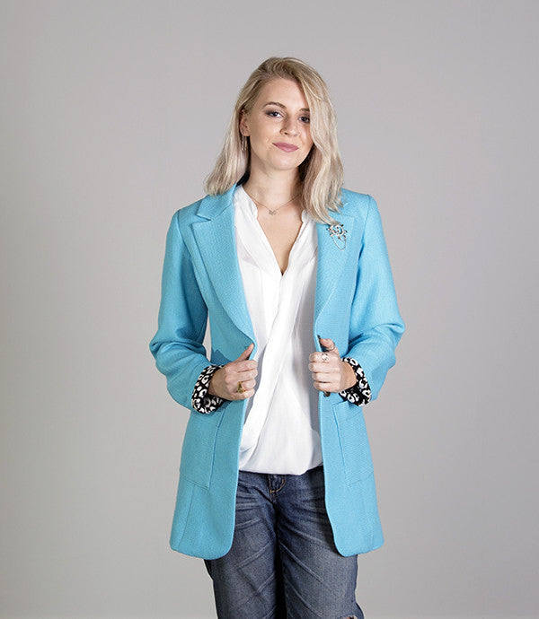 Summer Womens Blazer in Pastel Blue - Lushington Jackets