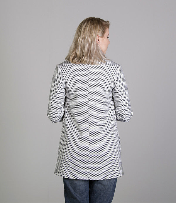 Mid length Summer Womens Jacket in Blue Spot - Lushington Jacket