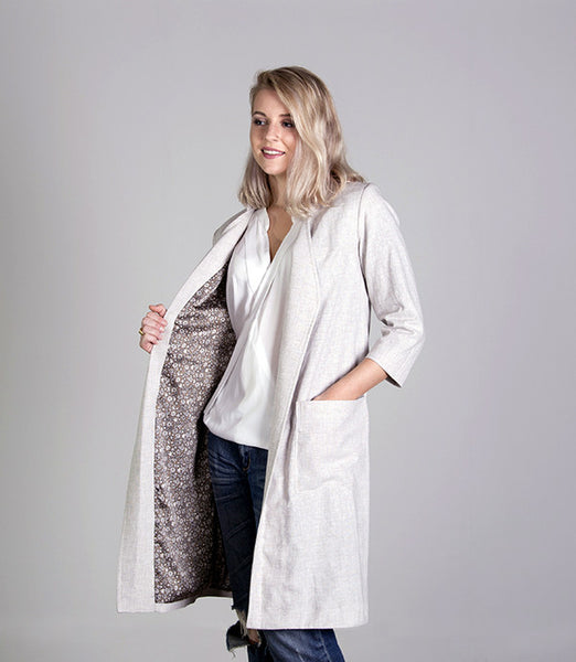 Long Summer Womens Jacket in Oatmeal - Lushington Jackets