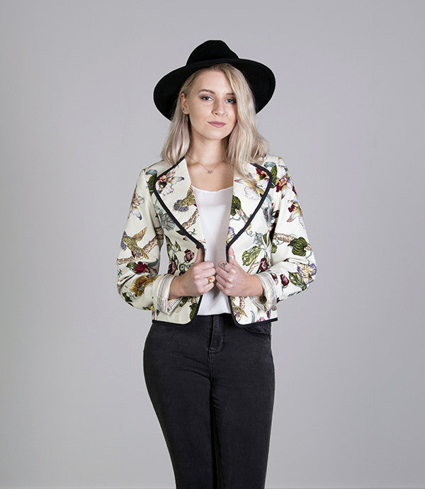 Short Summer Womens Jacket in Bird Print - Lushington Jacket