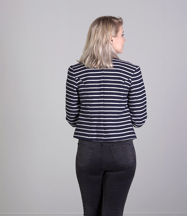 Short Summer Womens Jacket in Navy Stripe - Lushington Jackets