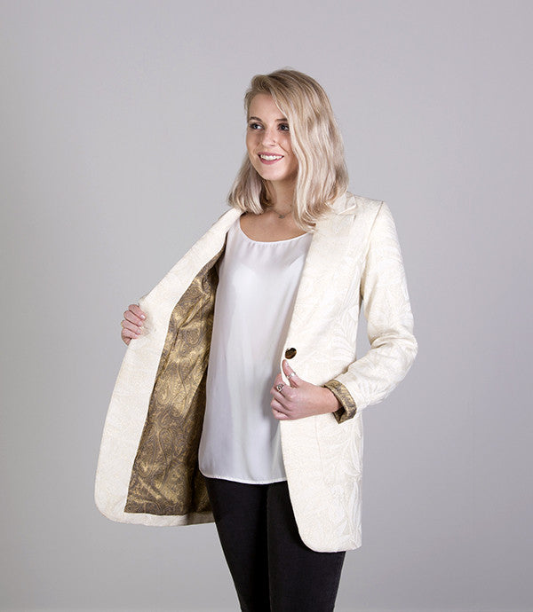 Mid length Womens Summer Blazer in Gold - Lushington Jacket