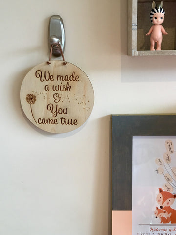 We Made A Wish || Round Quote Plaque ||  Wood