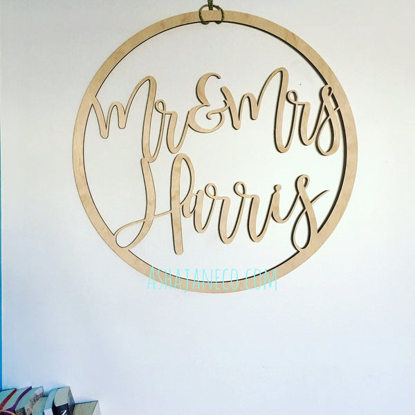 Asha Jane & Co Lasercut Wood Celebration Wreath with Custom Names Font 1
