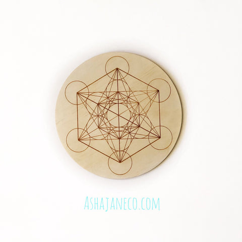 Asha Jane & Co Laser Cut & Engraved Sacred Geometry Metatron's Cube Crystal Grid Board