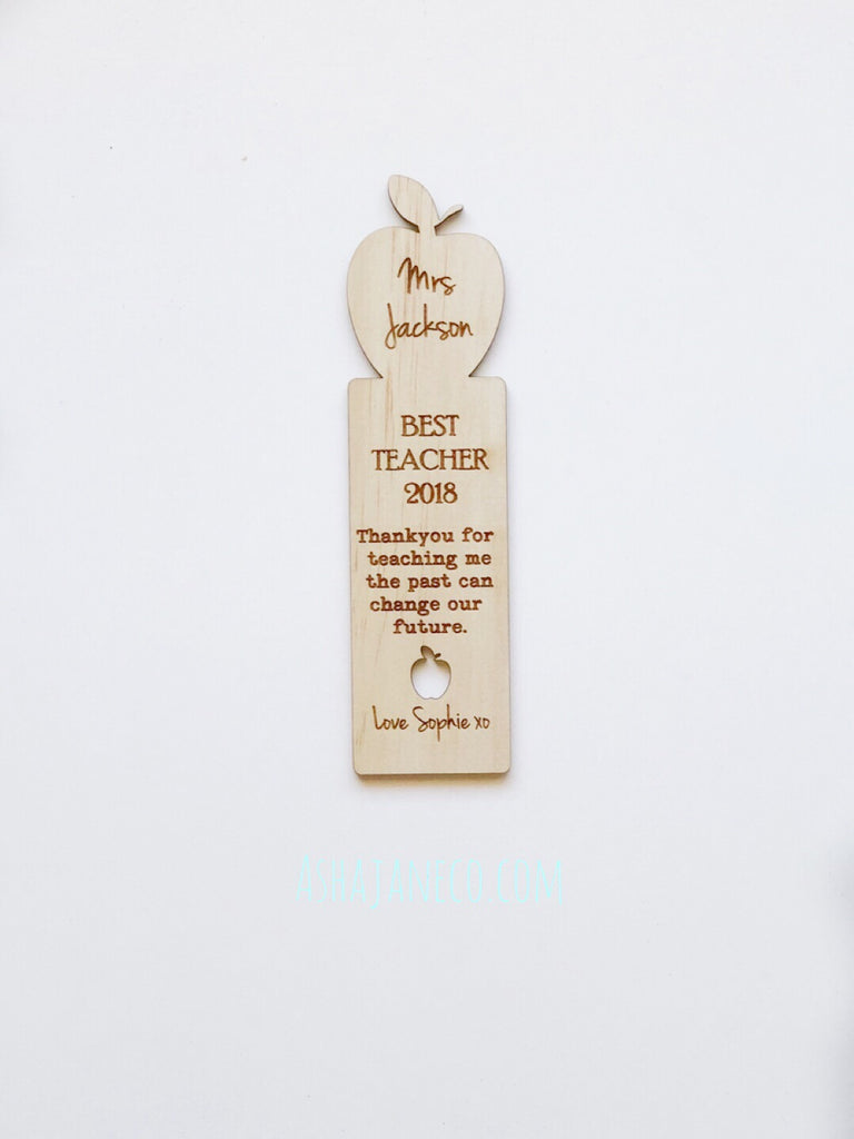 Asha Jane & Co Custom laser cut and engraved wood bookmark with apple and teacher quote