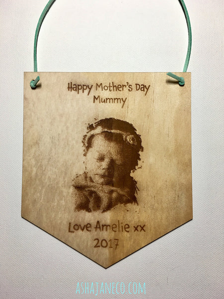Asha Jane & Co Custom Laser Cut & Engraved Photo Banner Plaque