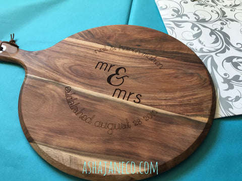 Engraved Acacia Cheese Board || Mr & Mrs