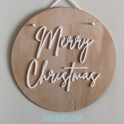 Acrylic & Wood Plaque || Merry Christmas