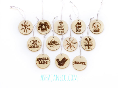 Asha Jane & Co Laser Cut and Engraved Christmas Bauble Gift Tag Set Small Wood