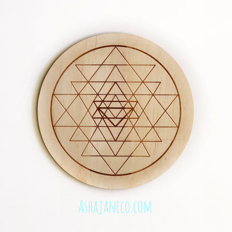 Asha Jane & Co Laser Cut & Engraved Sacred Geometry Sri Yantra Crystal Grid Board