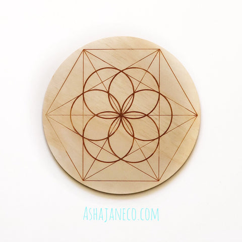 Asha Jane & Co Laser Cut & Engraved Sacred Geometry Seed of Life Crystal Grid Board