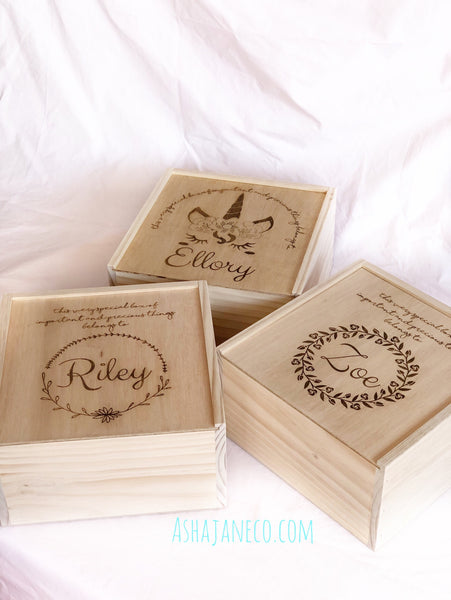 Asha Jane & Co Laser Engraved Handcrafted Slide Top Box
