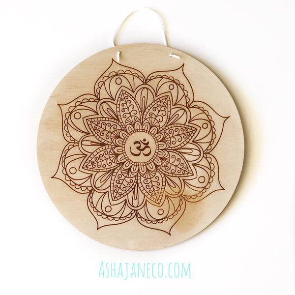 Asha Jane & Co Laser cut & engraved Flip top lid with dividers and engraved image of om mandala on lid