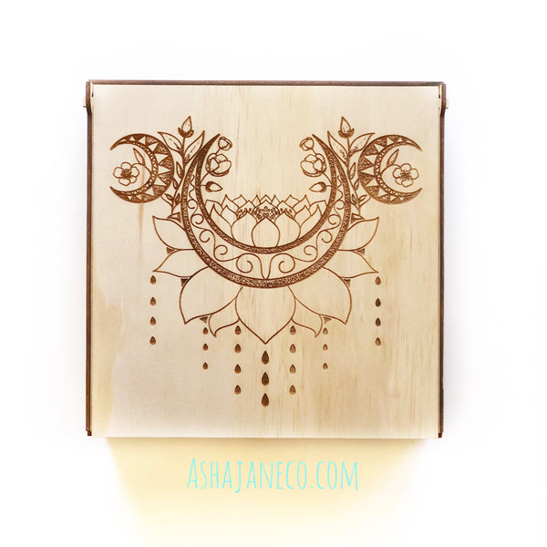 Asha Jane & Co Laser cut & engraved Flip top lid with dividers and engraved image of crescent moon lotus mandala on lid