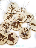 Asha Jane & Co Custom Laser Cut & Engraved Christmas Bauble Gift Tags Closeup